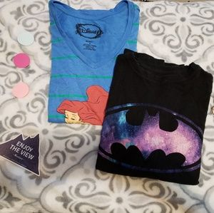 Galaxy Batman and Little Mermaid tees